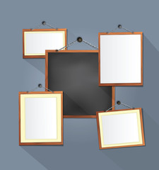 wooden frames on Grey  wall. vector illustration.