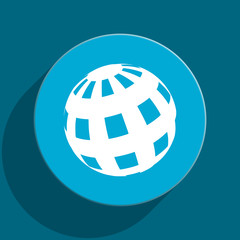 earth blue flat web icon