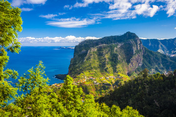 coast on madeira island in sunny day at the winter, portugal Fototapete