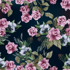 Seamless vector floral pattern with roses, watercolor