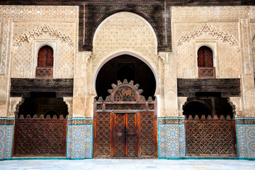 Delicate decoration at the courtyard of bou inania madrasa