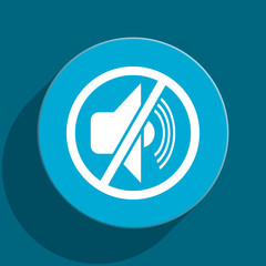 mute blue flat web icon