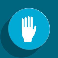 stop blue flat web icon