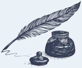 Vector freehand drawing of ancient pen and inkwell