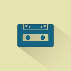 Retro audio cassette vector icon.