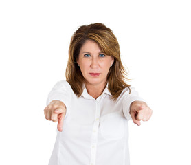 You! Middle aged woman pointing at you with two fingers