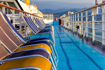 Chairs in a row on cruise ship