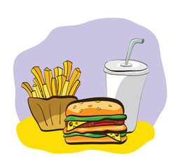 Illustration of French-fry, burger and drink