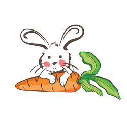 Illustration of white rabbit sitting on cartoon carrot