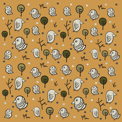 Sparrow Pattern on brown background with cartoon trees