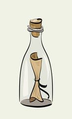 Illustration of hand drawn bottle with message