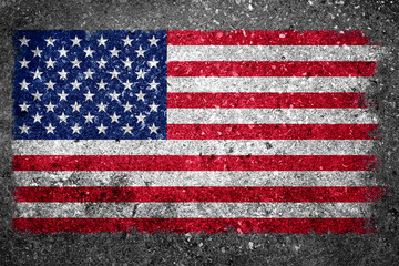 USA Flag Painted on Concrete Wall