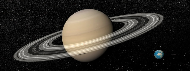 Saturn and earth - 3D render