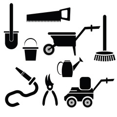 garden tools silhouettes