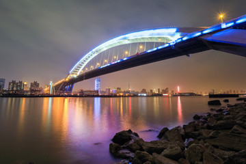 beautiful shanghai lupu bridge at night