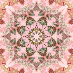Seamless pattern with paintings leaves