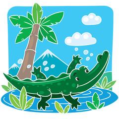 Children vector illustration of little crocodile