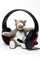 teddy bear and headphones