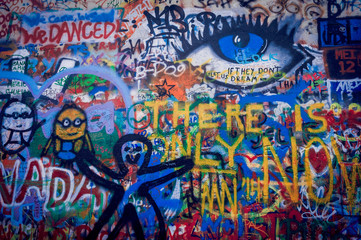 Mur de graffitis à Pragues