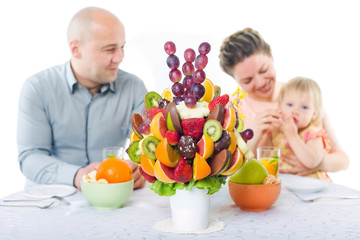 Fruit bouquet decoration on the dining table