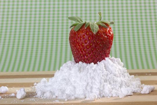 fresh strawberry with sugar powder