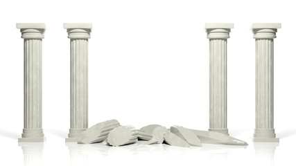 Ancient marble pillars with two middle broken isolated on white