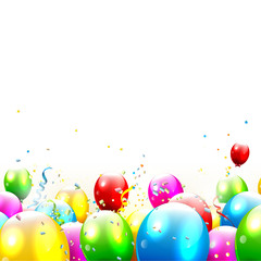 Colorful birthday balloons and confetti - vector background