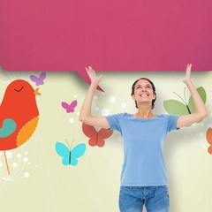 Composite image of pretty brunette gesturing with speech bubble