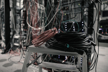 Network Server room with cat5 cables