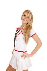 nurse stethoscope around neck hands hips side