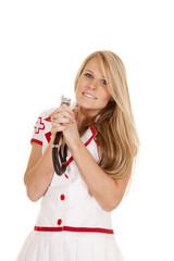 nurse stethoscope around neck hold up