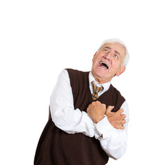 suffocated old man with acute chest pain on white background