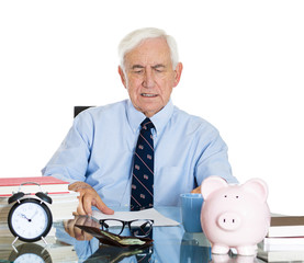 senior accountant old male manager working in office