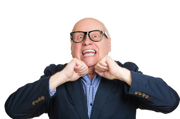 headshot old man in disbelief surprised excited white background