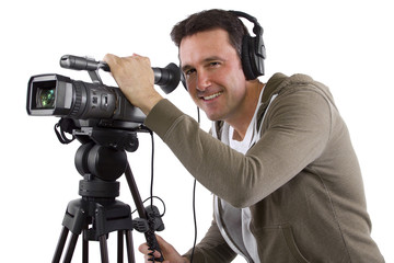 video camera operator with tripod on white background
