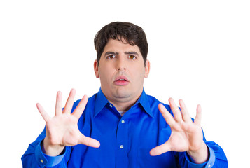 pissed off man angry funny looking guy on white background