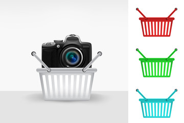 new camera in shopping basket colorful set concept vector