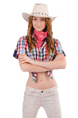 Redhead happy cowgirl isolated on white