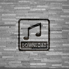 music download symbol  on noble stone texture