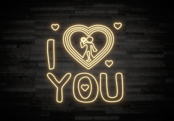 3d render of a neon I love you label on classy stone wall