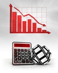 movie tape with negative business calculations and graph