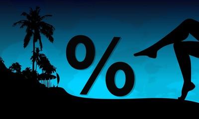 percent symbol on a beach