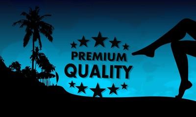 premium quality sign on a beach