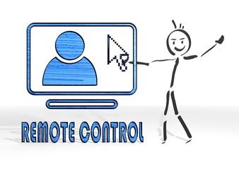 stick man presents remote control sign