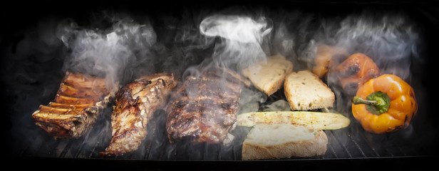 Autocollant pour porte Viande Barbecue with meat and vegetables
