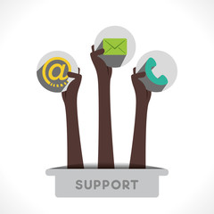 customer support icon hold in hand vector