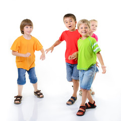 happy excited children friends have fun, isolated on a white bac