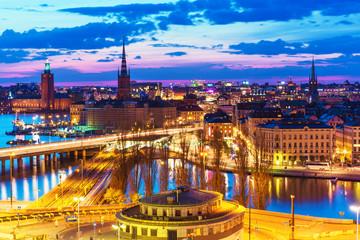 Night panorama of Stockholm, Sweden