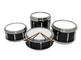 Set drums with drumsticks