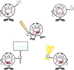 Baseball Ball Cartoon Mascot Characters 1. Collection Set